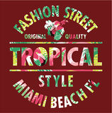 Tropical style Miami fashion street. Vector artwork for girl t shirt with flamingo and leaves background royalty free illustration