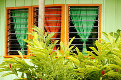 Tropical style window of a house in Neiafu town, Vavau island, T Royalty Free Stock Image