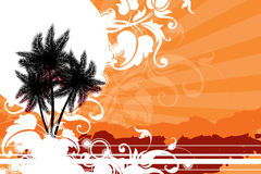 Tropical summer. Palm trees against the sun decorated with decorative elements Royalty Free Stock Photos