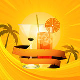 Tropical summer background with cocktails and banner Royalty Free Stock Image