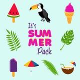 Tropical summer beach decoration icon set Stock Photo