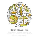 Tropical summer beach icon concept. Ball, umbrella, palm, starfish in round form with decoration. Beach summer icon Stock Photography