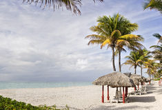 Tropical summer beach resort with palm trees and c. Abanas in Miami Beach Florida on a beautiful summer day with colorful ocean waters of the Atlantic, pristine Stock Photo