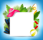 Tropical Summer Design Card Template with Beach Accessories Stock Photo