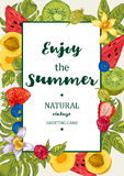 Tropical Summer Exotic Menu Fruits Card Stock Images