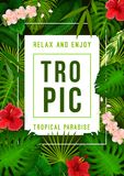 Tropical summer exotic palm leaf and flower banner. Tropical jungle palm leaf and exotic flower banner for summer season holiday and vacation template. Banana Stock Photos