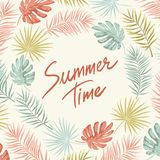 Tropical summer frame. Summer frame with tropical palm leaves and lettering in a retro style to design cards, banners, stickers, web pages, and other creative Royalty Free Stock Photo