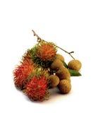 Tropical summer fruits, Rambutan and Longan, on white background Stock Photo