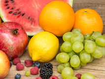Tropical Summer Fruits On Wooden Table Royalty Free Stock Images