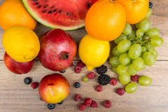 Tropical Summer Fruits On Wooden Table Stock Image