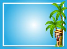A Tropical Summer with Girl Blue Template. Illustration Stock Photography