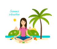 Tropical summer girl is engaged in yoga and meditation. The girl is engaged in the lotus position in yoga and meditation, rest and recuperate, tropical summer Royalty Free Stock Images