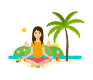 Tropical summer girl is engaged in yoga and meditation. The girl is engaged in the lotus position in yoga and meditation, rest and recuperate, tropical summer Stock Image