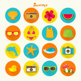 Tropical Summer Holiday Vector Icon Set Royalty Free Stock Photo