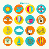 Tropical Summer Holiday Vector Icon Set Royalty Free Stock Image