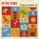 Tropical summer icons set. Retro signs with grunge effect, vector illustration Stock Photography