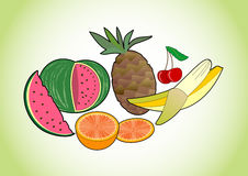 Tropical and summer juicy fruits - melon, pineapple, banana, cherry and orange Stock Photo