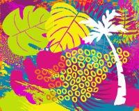 Tropical summer jungle plant leaf abstract art vector illustration