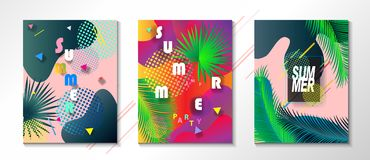 Tropical Summer kids camp party posters set Royalty Free Stock Photography