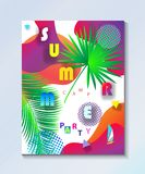 Tropical Summer kids camp party wallpaper Stock Photo