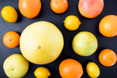 Tropical summer mix of grapefruit, orange, mandarin and lime. Citrus fruits on black background. Flat lay, top view. Royalty Free Stock Photo
