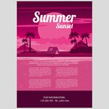Vector Illustration of Tropical summer night. Tropical summer night. Palm trees on the background of sunset. Vector illustration Royalty Free Stock Photography