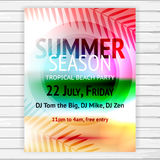 Tropical summer party flyer Royalty Free Stock Image