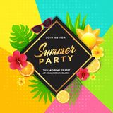 Tropical Summer Party Invitation Design. With Tropical Fruit, Floral, Leaves and Abstract Geometric Design Style Background Royalty Free Stock Photos