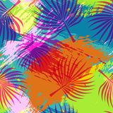Tropical summer pattern abstract palm leaf art stock illustration