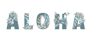 Tropical summer pattern hand drawn ALOHA palm leaves, flowers, birds. Tropical Floral summer pattern hand drawn ornamental text ALOHA with palm beach leaves Stock Photography