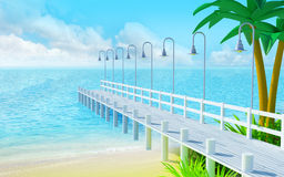 Tropical summer pier Royalty Free Stock Photo