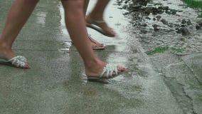 Tropical summer rain. Female feet in sandals close-up during a tropical rain on Phuket stock video