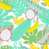 Tropical summer seamless background with bananas Royalty Free Stock Photography