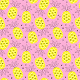Tropical summer seamless background with repeating pineapples. Great for print on fabric and children clothes, apparel, as a background texture for your web vector illustration