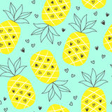 Tropical summer seamless background with repeating pineapples. Great for print on fabric and children clothes, apparel, as a background texture for your web stock illustration
