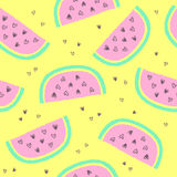 Tropical summer seamless background with repeating watermelons Stock Images