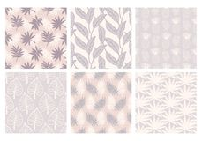Tropical summer seamless patterns collection. Set of hawaiian plants, palm leaves, pineapples hand drawn doodles. Good for wallpaper, invitation cards, textile Royalty Free Illustration