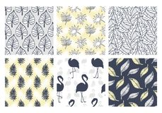 Tropical summer seamless patterns collection. Set of hawaiian plants, palm leaves, flamingo hand drawn doodles. Good for wallpaper, invitation cards, textile Stock Illustration