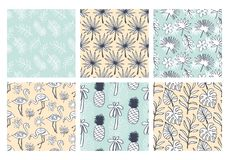 Tropical summer seamless patterns collection. Set of hawaiian plants, palm leaves, flamingo, pineapples hand drawn doodles. Good for wallpaper, invitation Vector Illustration