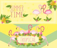 Tropical summer time horizontal banners, design element with palm leaves, flowers, pineapples and flamingos vector vector illustration