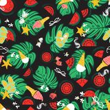 Tropical summer vacation background, vintage retro beach and relaxation seamless vector pattern. Colorful tropical summer vacation background, vintage retro royalty free illustration