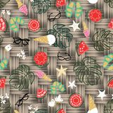 Tropical summer vacation background, vintage retro beach and relaxation seamless vector pattern. With beach elements, fruit and flowers on bamboo mat royalty free illustration