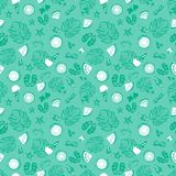 Tropical summer vacation background, vintage retro beach and relaxation seamless vector pattern. Monochrome blue green tropical summer vacation background stock illustration