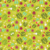 Tropical summer vacation background, vintage retro beach and relaxation seamless vector pattern. Multi-colored tropical summer vacation background, vintage retro royalty free illustration