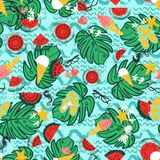 Tropical summer vacation background, vintage retro beach and relaxation seamless vector pattern. Multi-colored tropical summer vacation background, vintage retro vector illustration