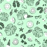 Tropical summer vacation background, vintage retro beach and relaxation seamless vector pattern. Pastel green and black tropical summer vacation background royalty free illustration