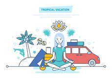 Tropical vacation. Girl is resting, vacationing in warm countries, relaxes. Tropical summer vacation. Girl is resting, vacationing in warm countries, relaxes Stock Photo