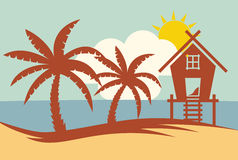 Tropical summer vector illustration - Palm tree, sun and Beach H Royalty Free Stock Image