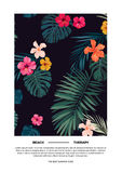 Tropical summer vector postcard design with bright hibiscus flowers and exotic palm leaves on dark background. Royalty Free Stock Images