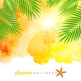 Tropical summer watercolor background Stock Photo